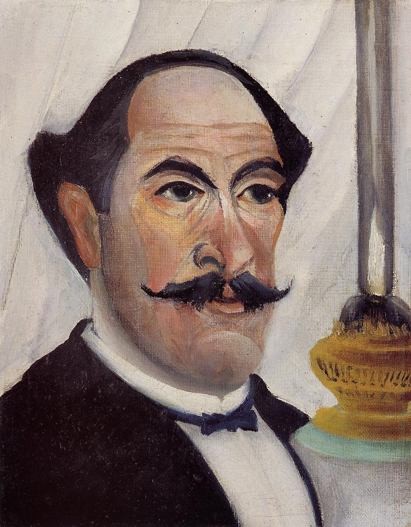 Self-portrait of the Artist with a Lamp, 1903 — Henri Rousseau,