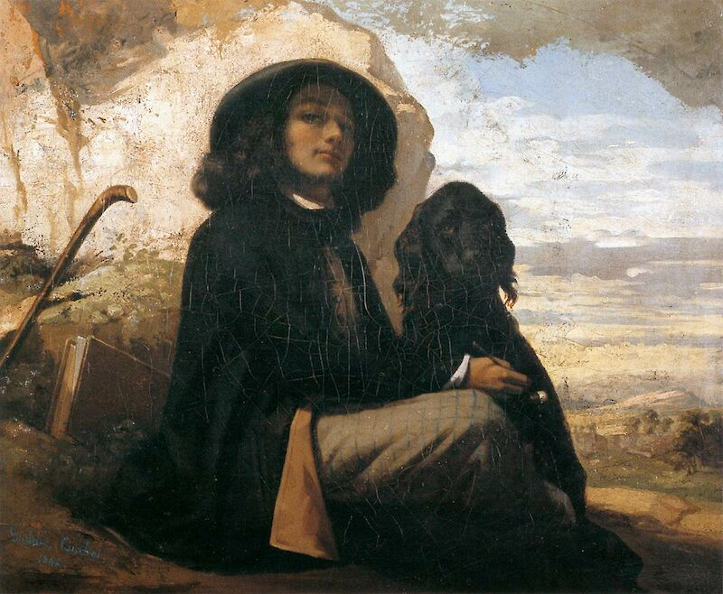Self Portrait with Black Dog, 1844, Gustave Courbet