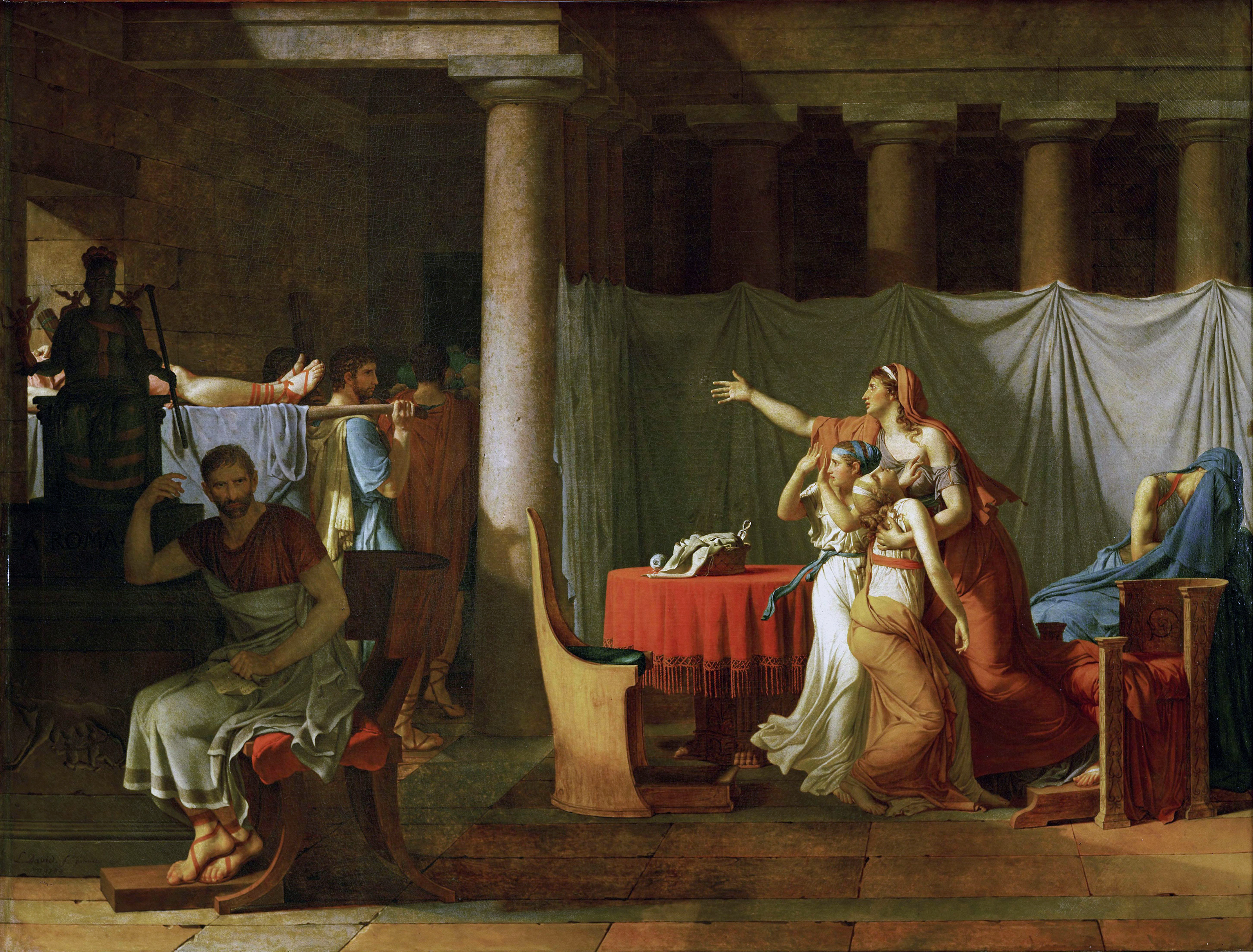 The Lictors Bring to Brutus the Bodies of His Sons, 1789 — Jacques-Louis David,