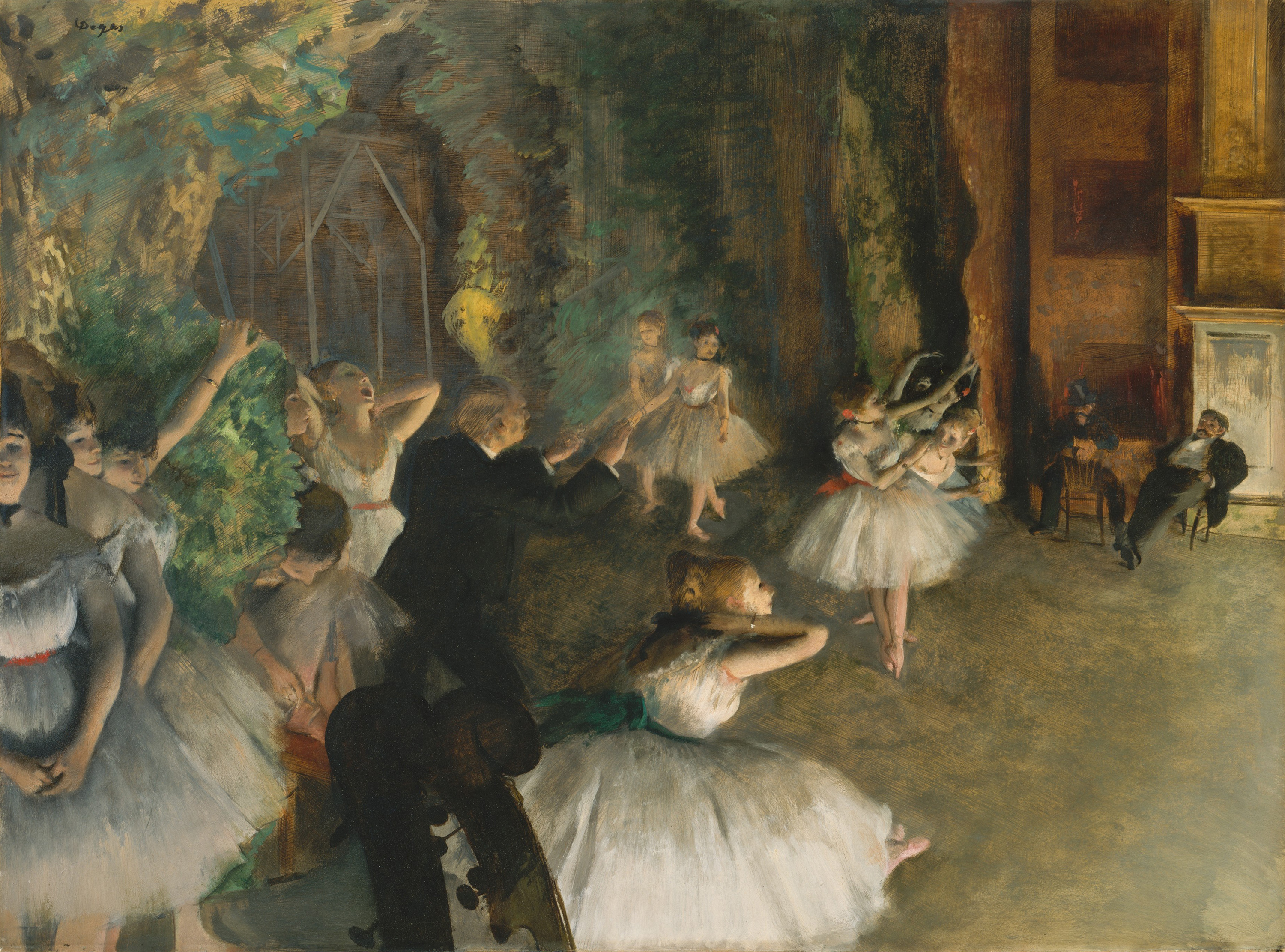 The Rehearsal of the Ballet Onstage, 1874 — Edgar Degas