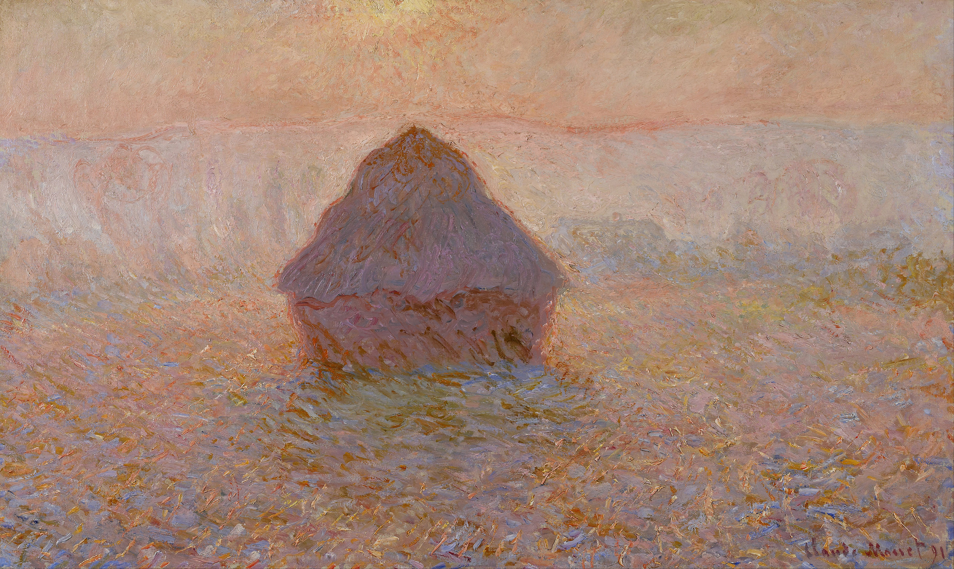 an analysis of the impressionist painting grainstack sunset by claude monet See the impressionist paintings of claude monet, 1889-1894 x claude monet paintings 1889-1894 sunset) by claude monet portrays the effects of the late.