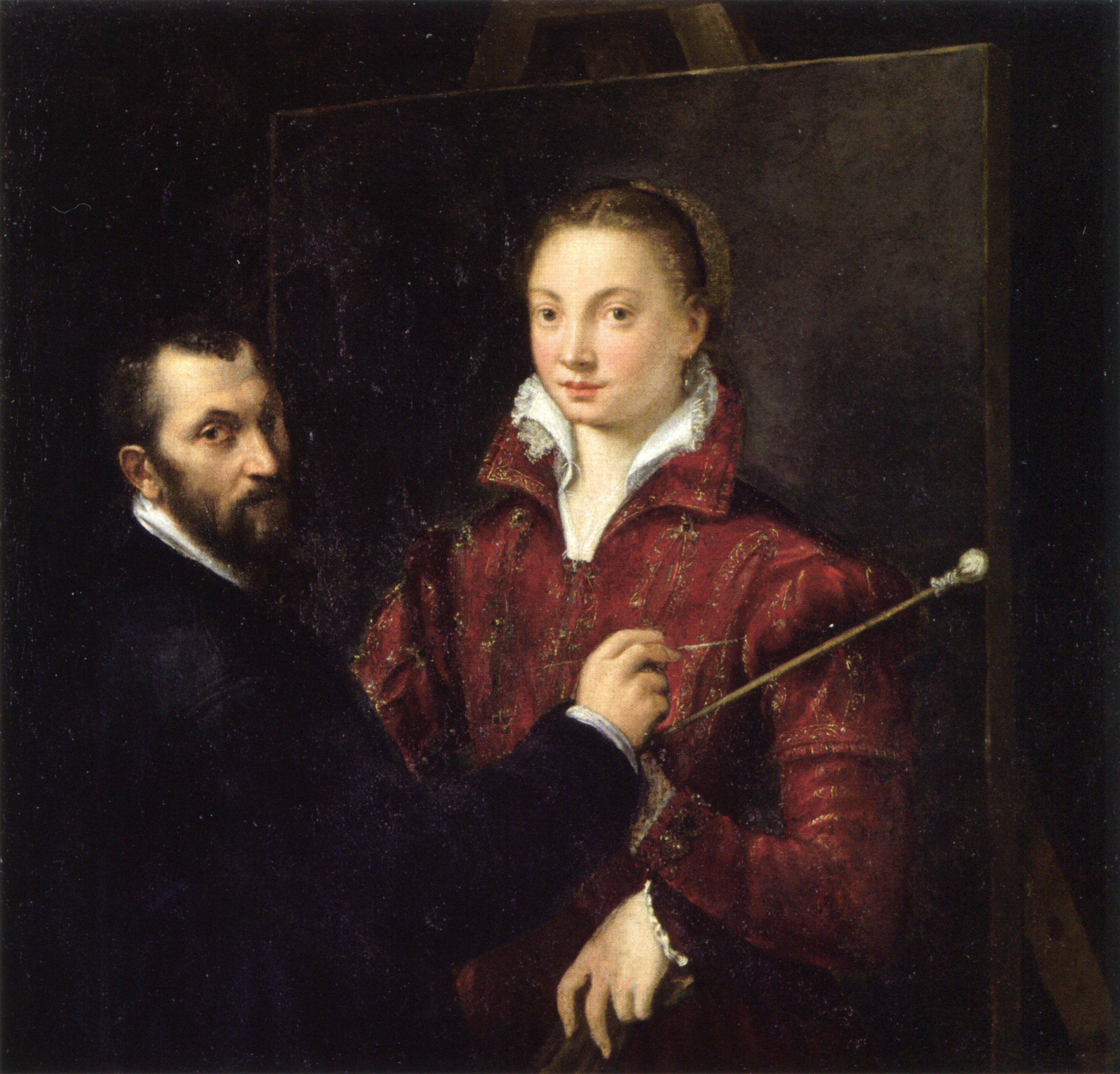 Self-portrait with Bernardino Campi, 1550 — Sofonisba Anguissola