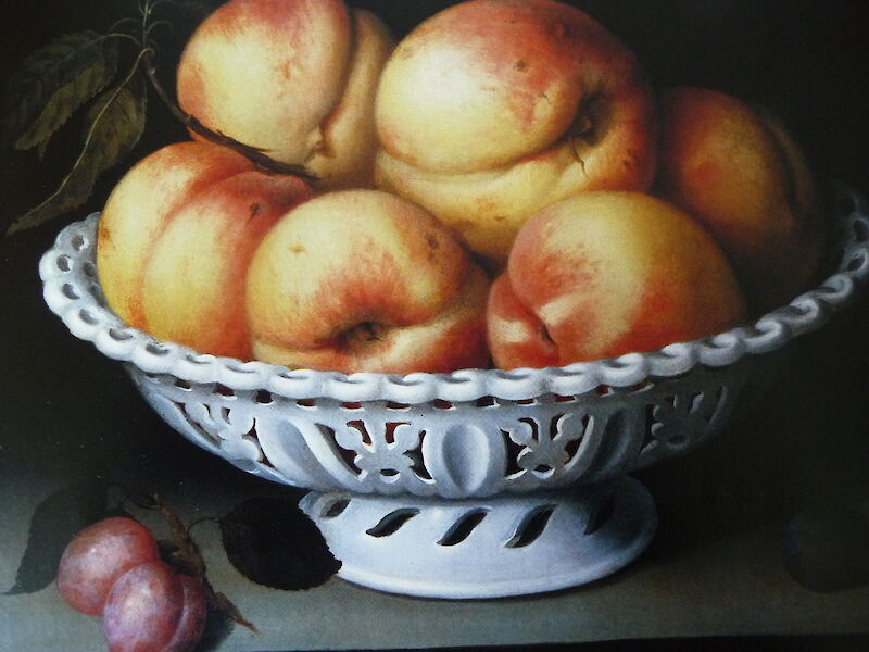 Peaches in a White Ceramic Basket