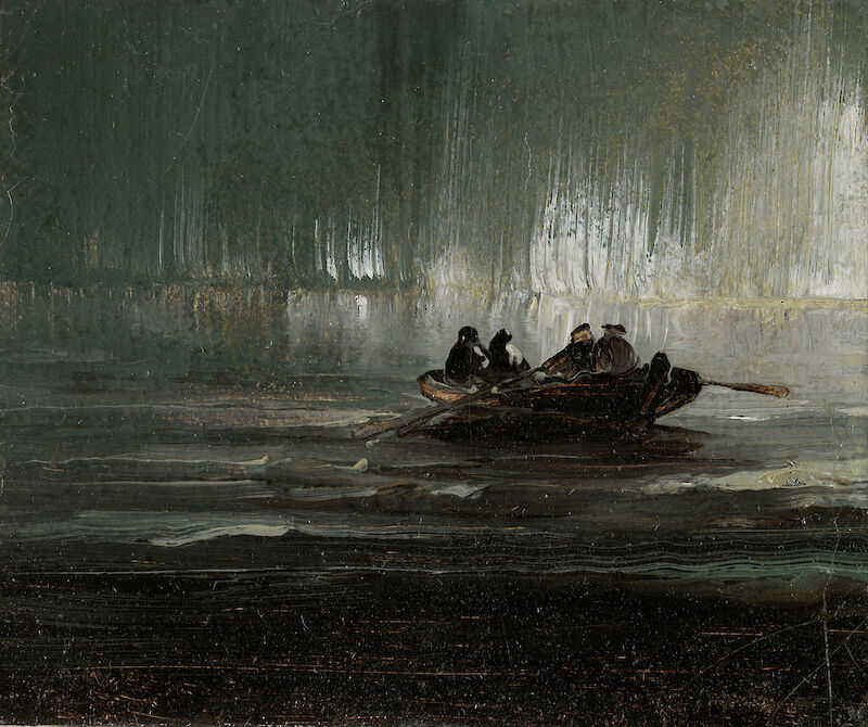 The Northern Lights over Four Men in a Rowboat