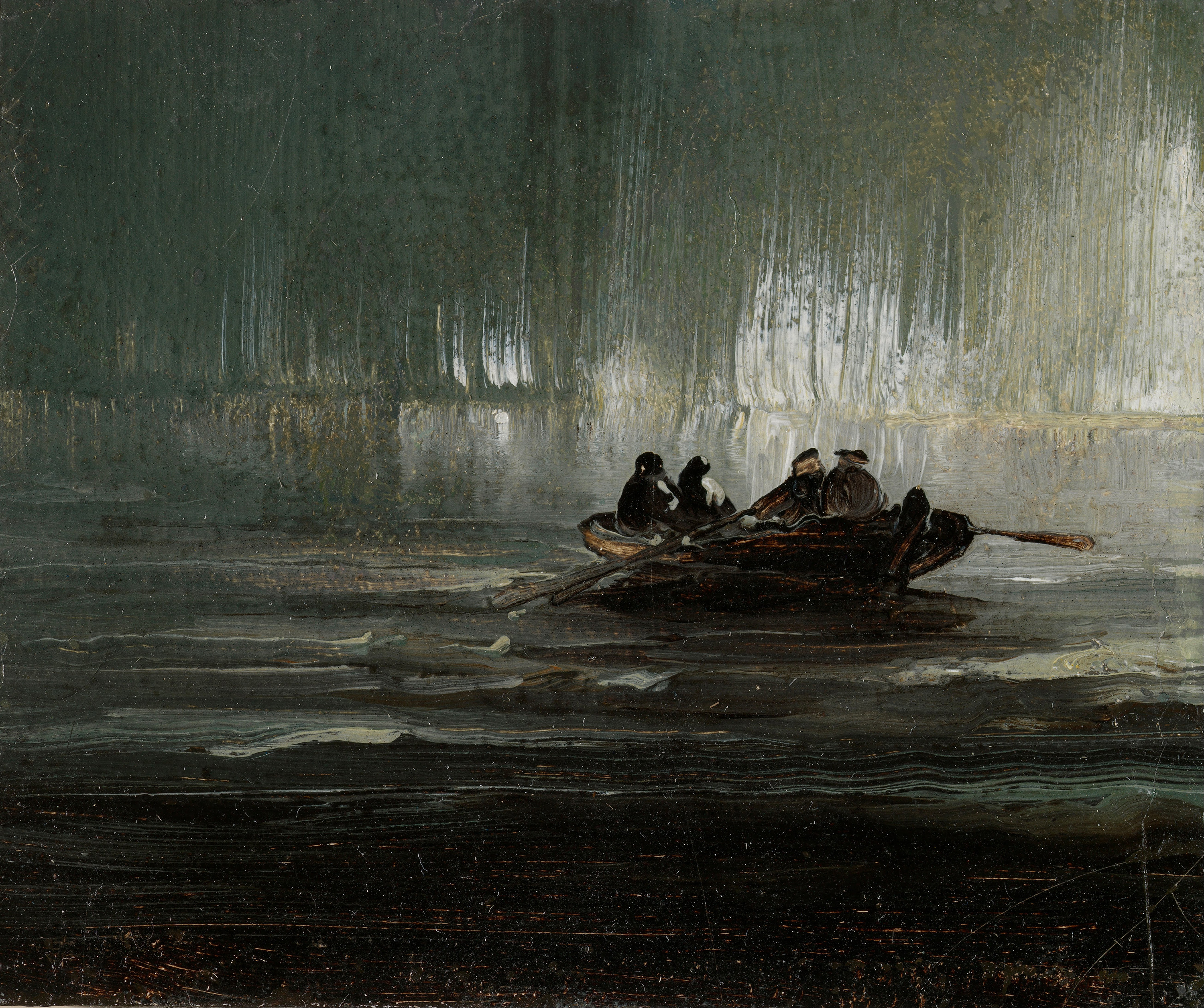 The Northern Lights over Four Men in a Rowboat, 1887 — Peder Balke