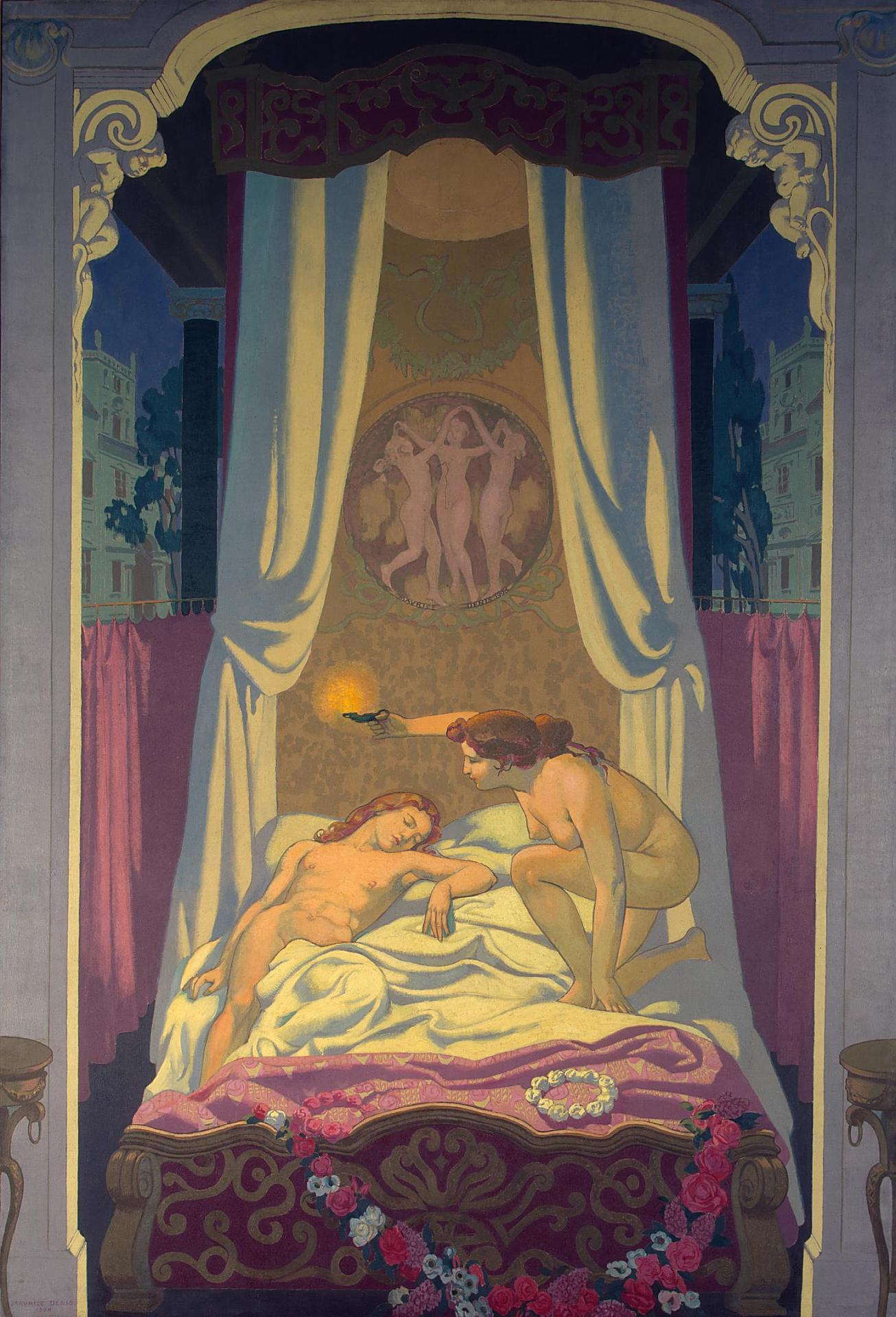Psyche Panel 3 — Psyche Discovers that Her Mysterious Lover is Eros, 1908 — Maurice Denis,