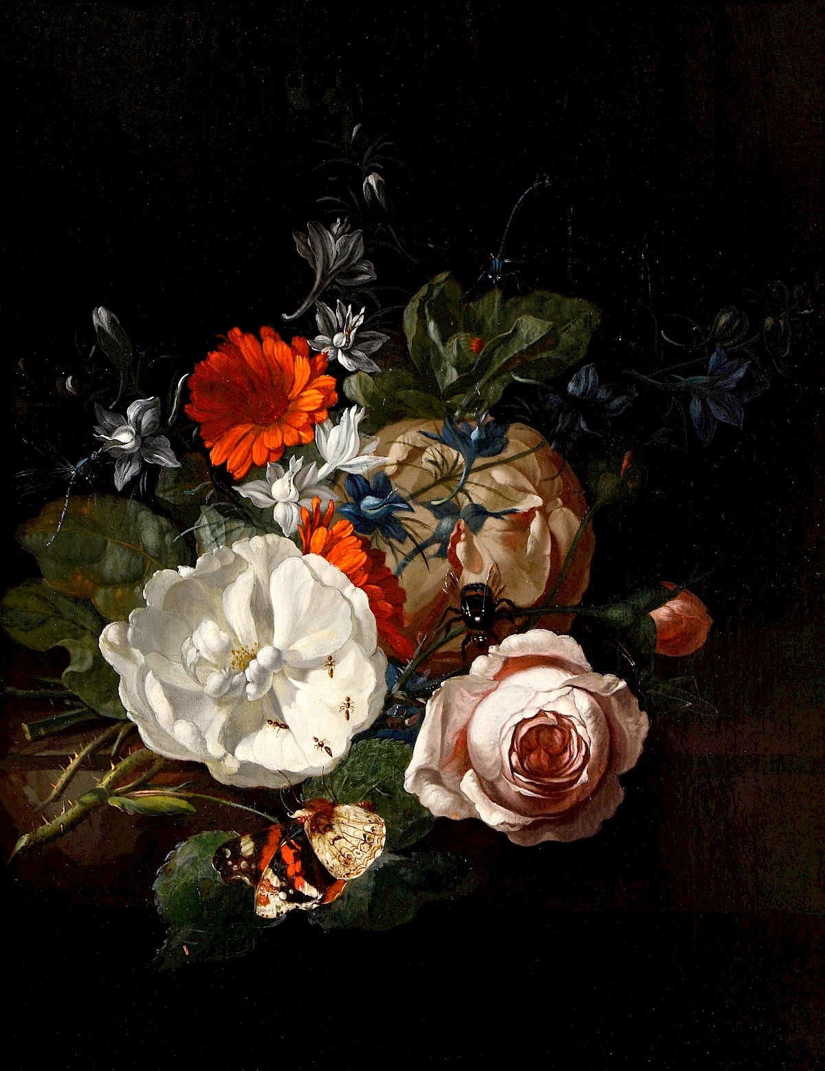 still life of flowers on a table ledge by rachel ruysch