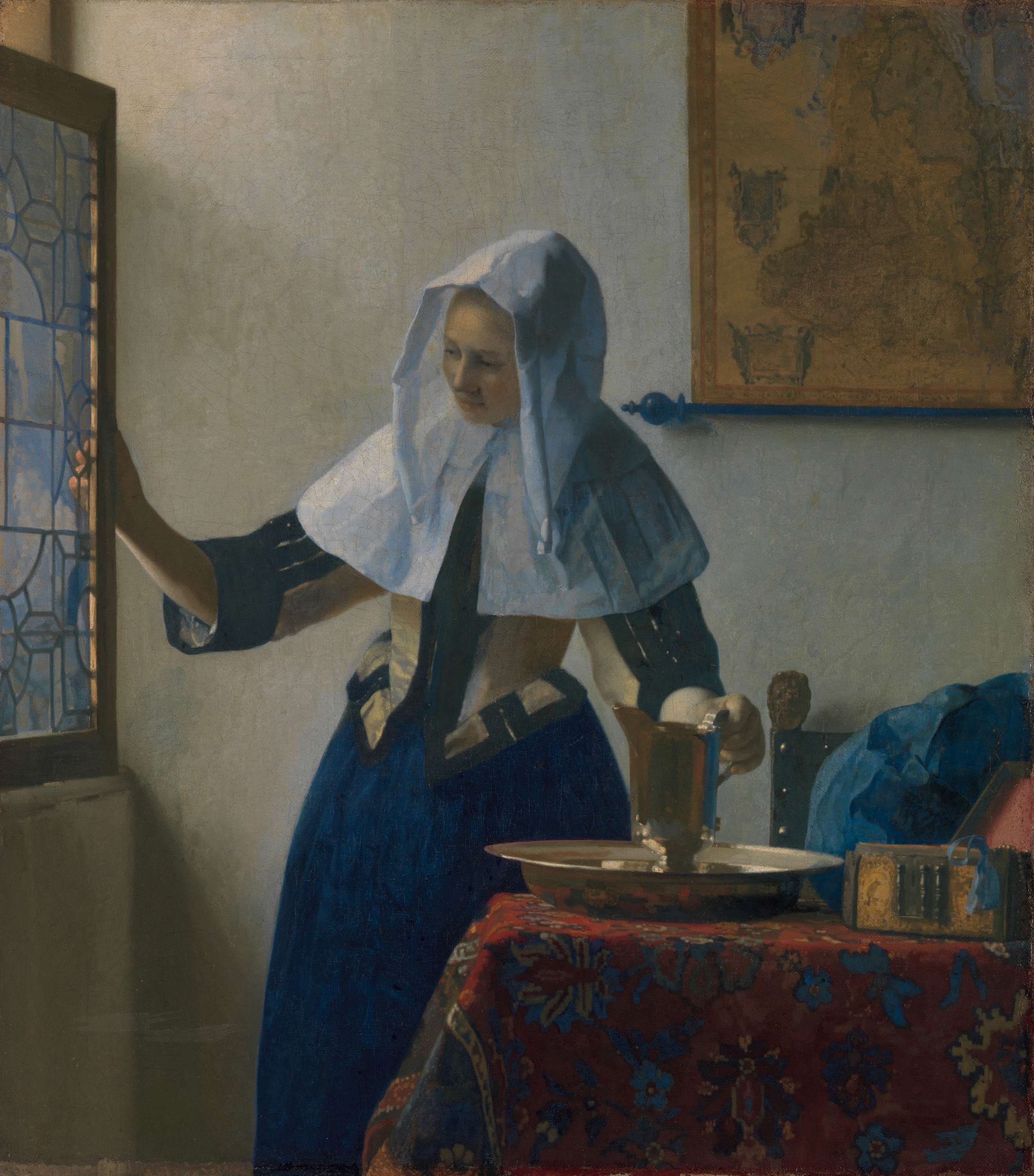 Young Woman with a Water Pitcher, 1662 — Johannes Vermeer,