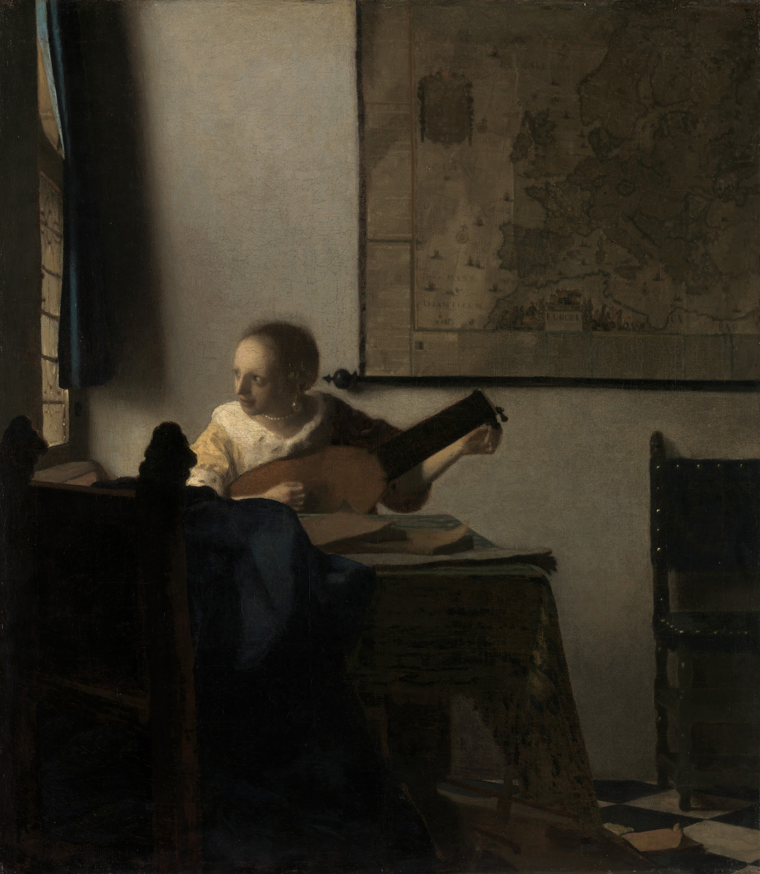 Woman with a Lute,  — Johannes Vermeer,