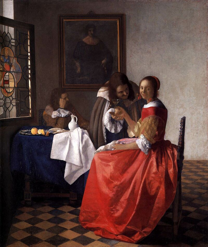 A Lady and Two Gentlemen, 1659, Johannes Vermeer
