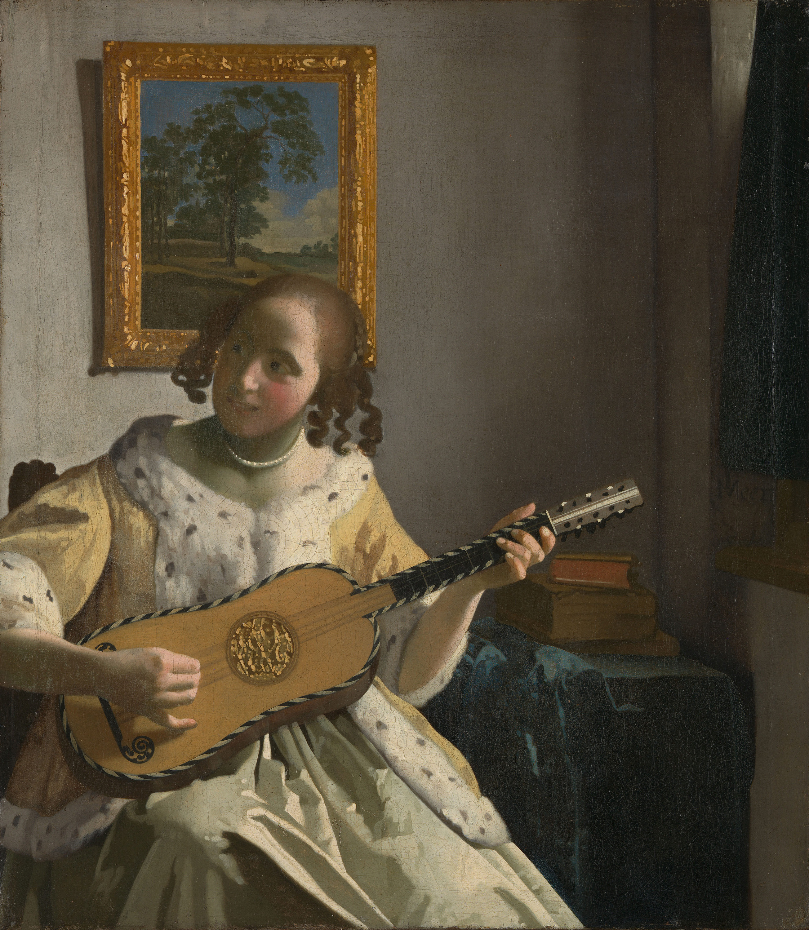 Young Woman Playing a Guitar, 1672 — Johannes Vermeer,