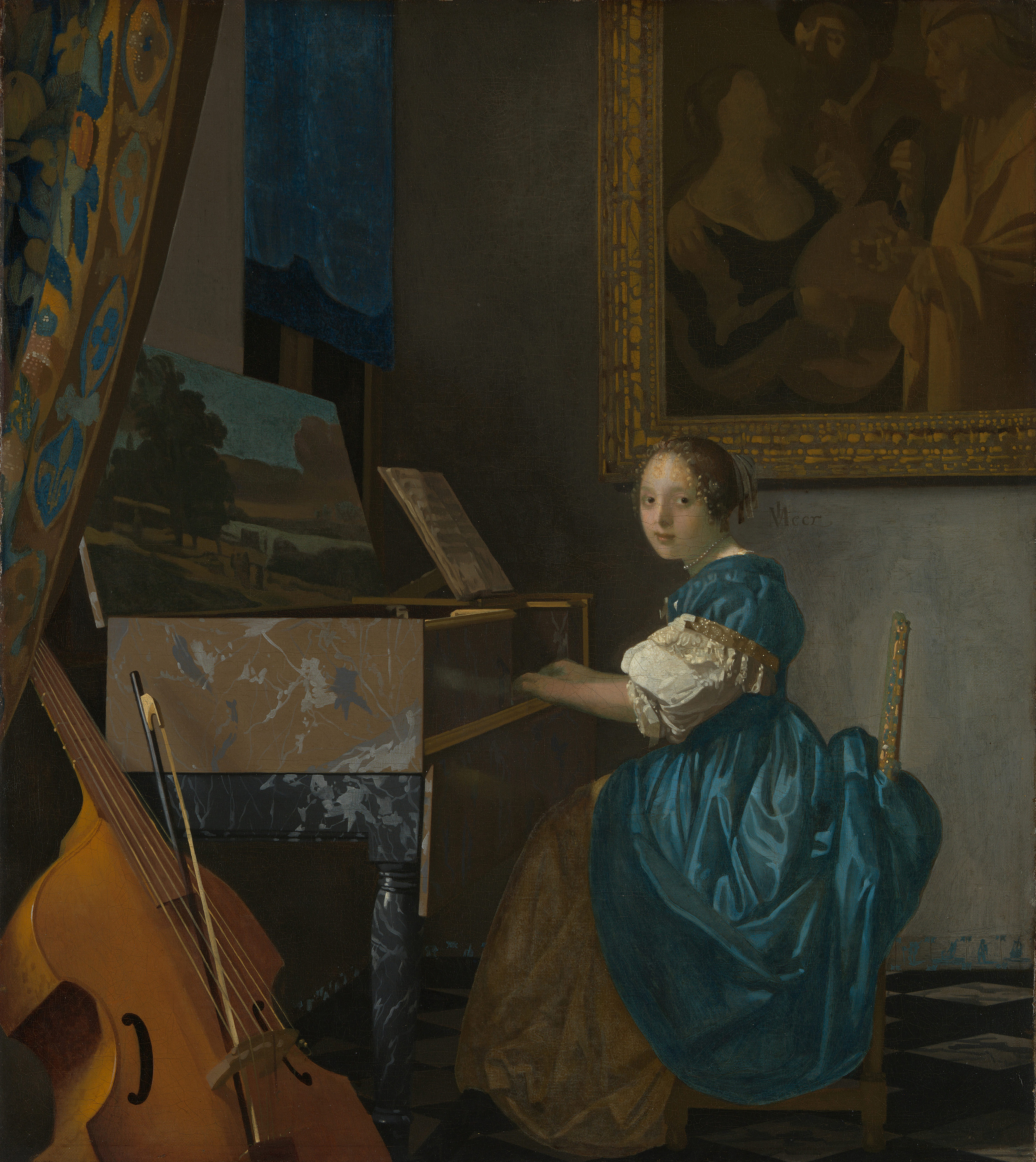 Young Woman Seated at a Virginal, 1672 — Johannes Vermeer,