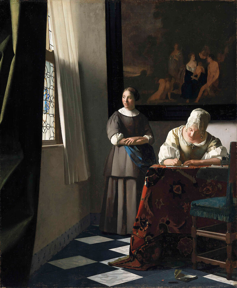 A Woman Writing a Letter with her Maidservant, 1671, Johannes Vermeer