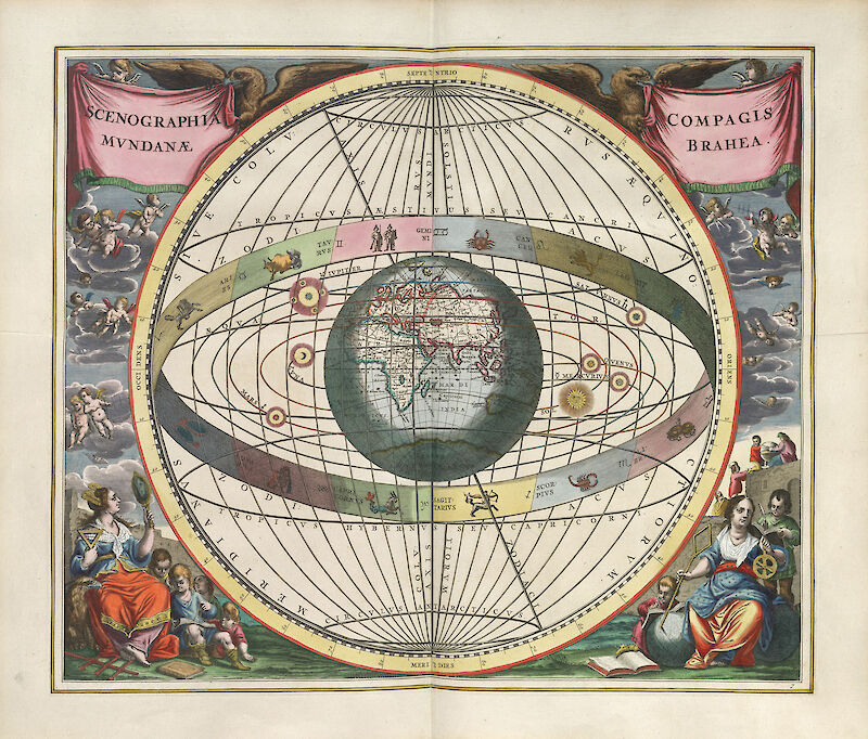 Harmonia Macrocosmica Plate 7 — Brahe's Construction of the World, 1660, Andreas Cellarius