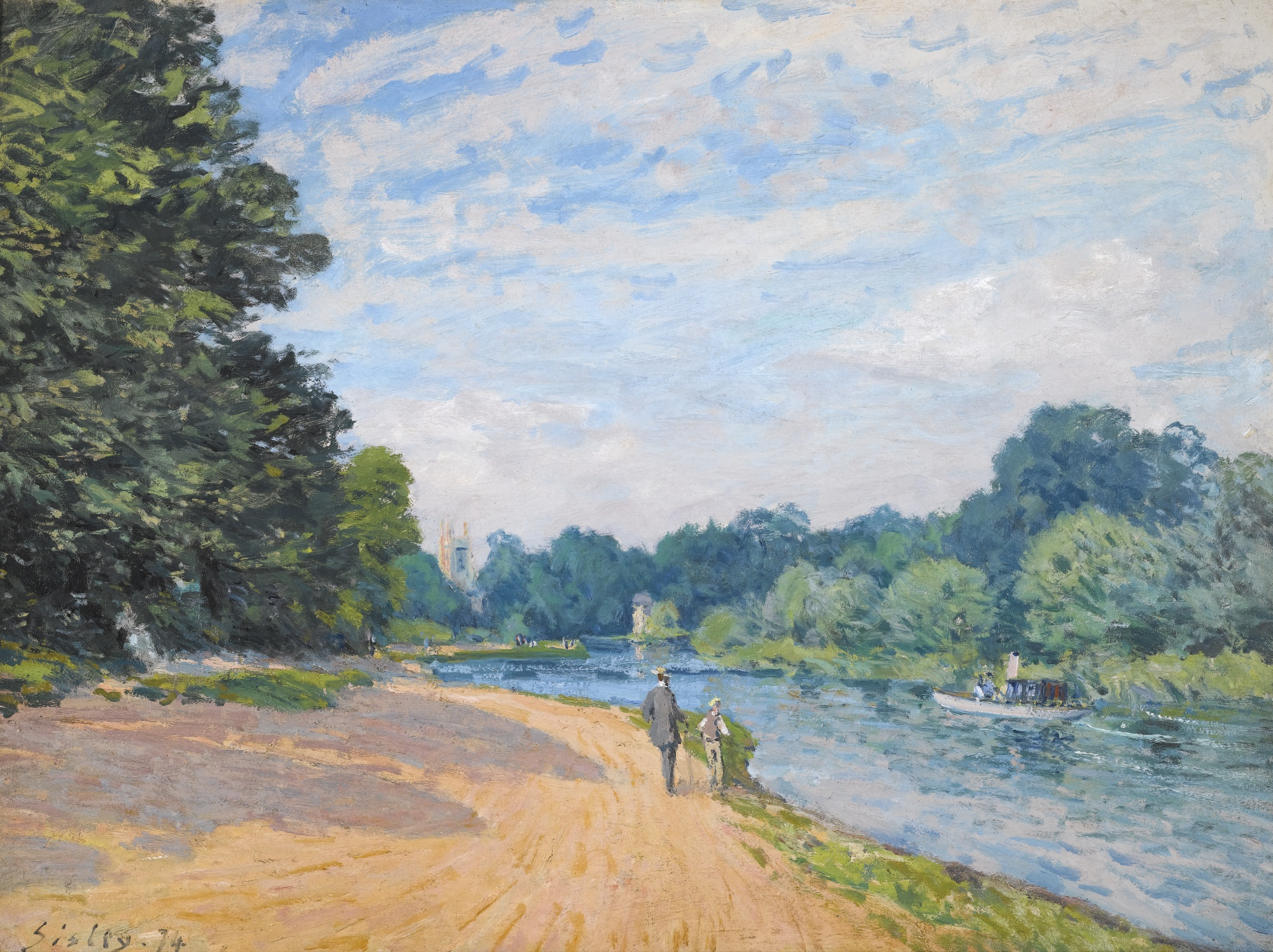 La Tamise avec Hampton church, 1874 — Alfred Sisley,