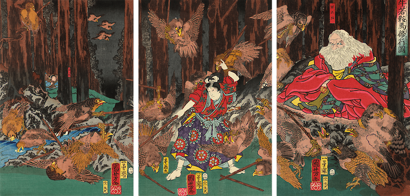 Prince Yoshitsune learning the art of swordsmanship