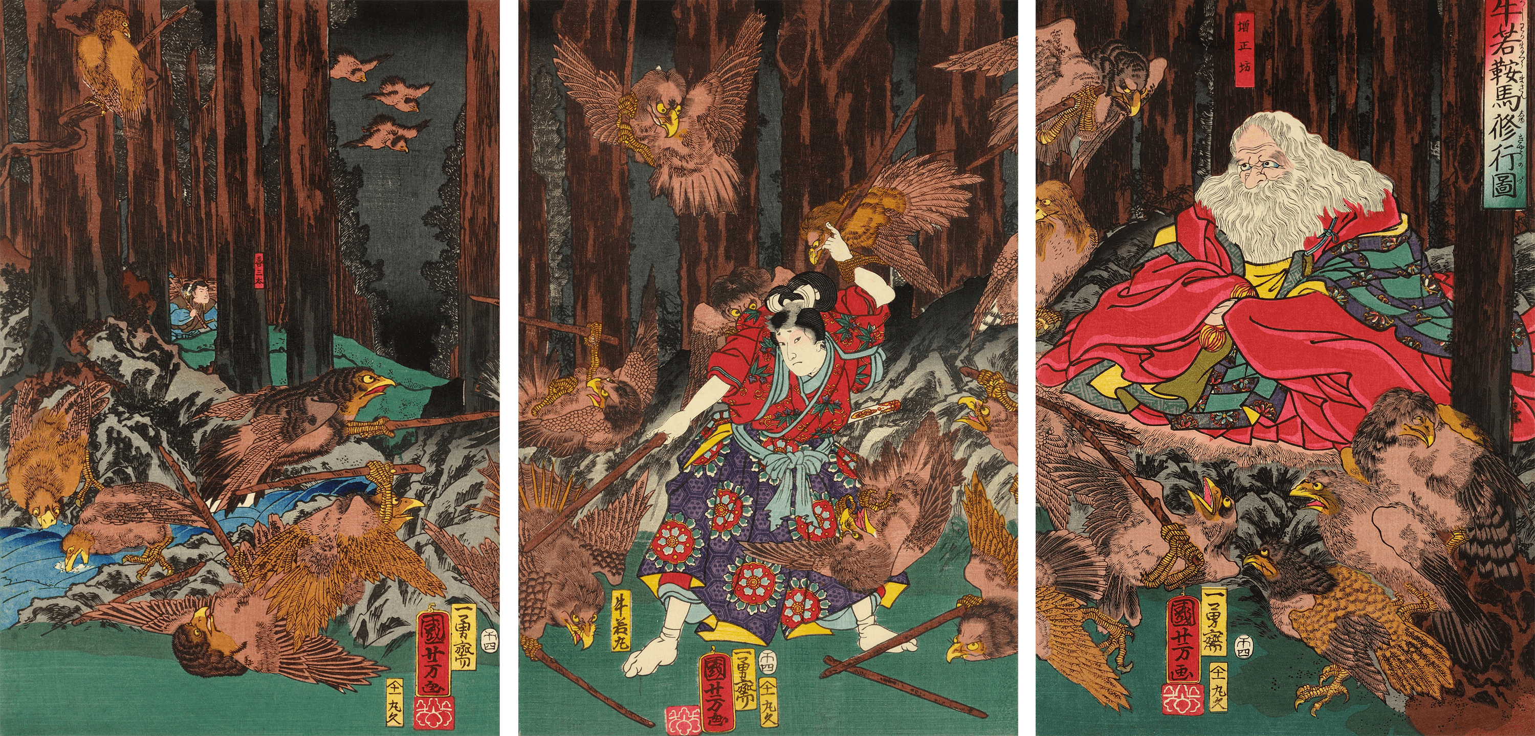 Prince Yoshitsune learning the art of swordsmanship, 1858 — Utagawa Kuniyoshi