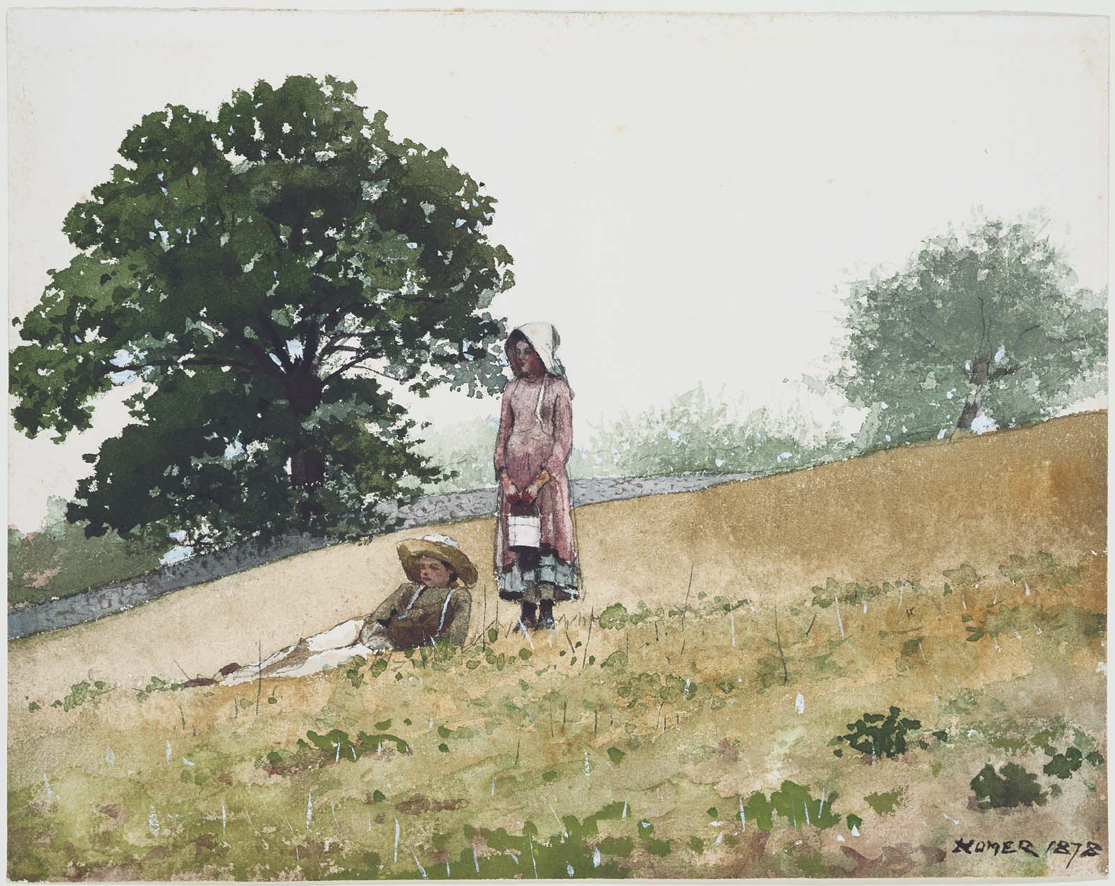 Boy and Girl on a Hillside, 1878 — Winslow Homer, Museum of Fine Arts Boston