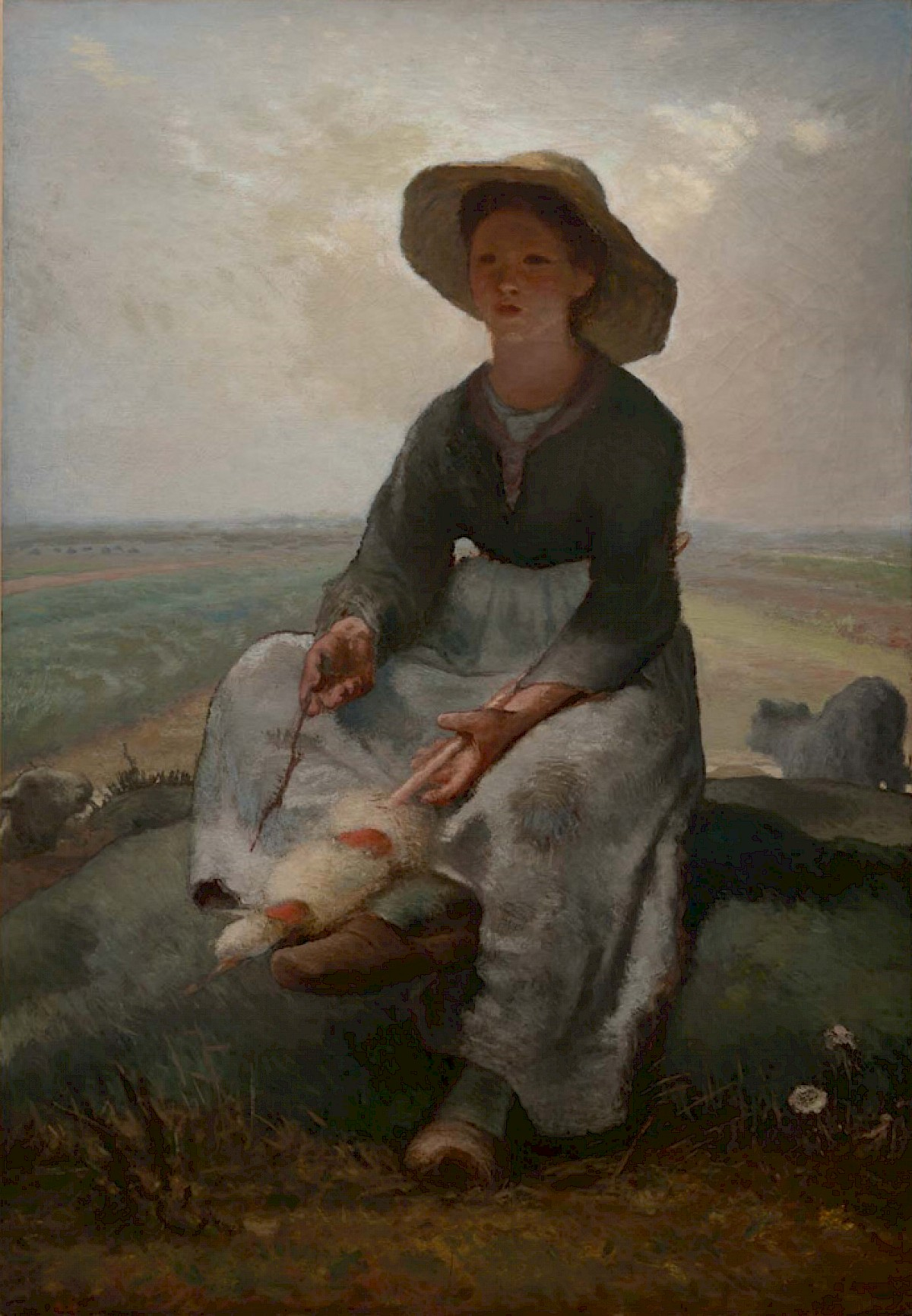Young Shepherdess By Jean Fran 231 Ois Millet Trivium Art
