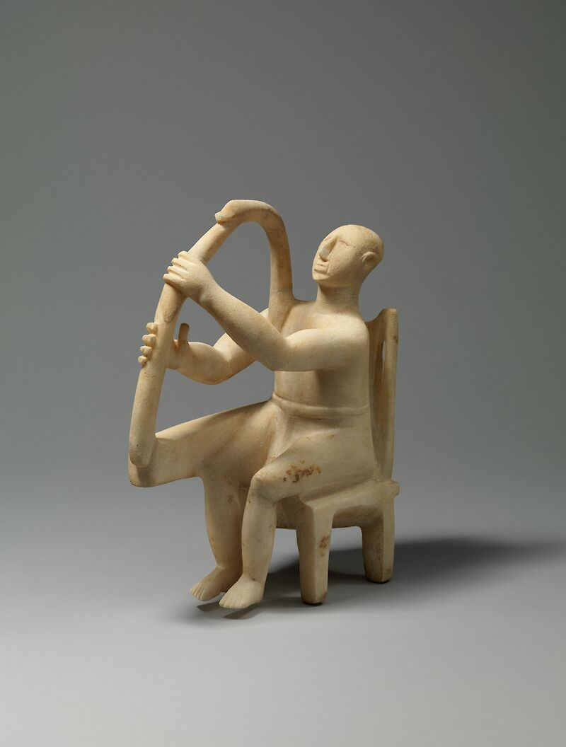 Cycladic seated harp player, 2700 BCE, Aegean Civilizations