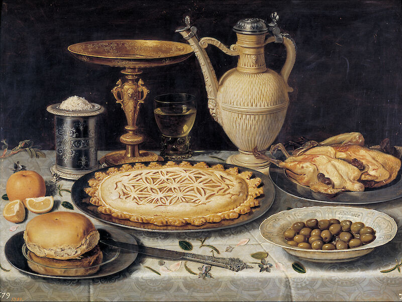 Table with Orange, Olives and Pie