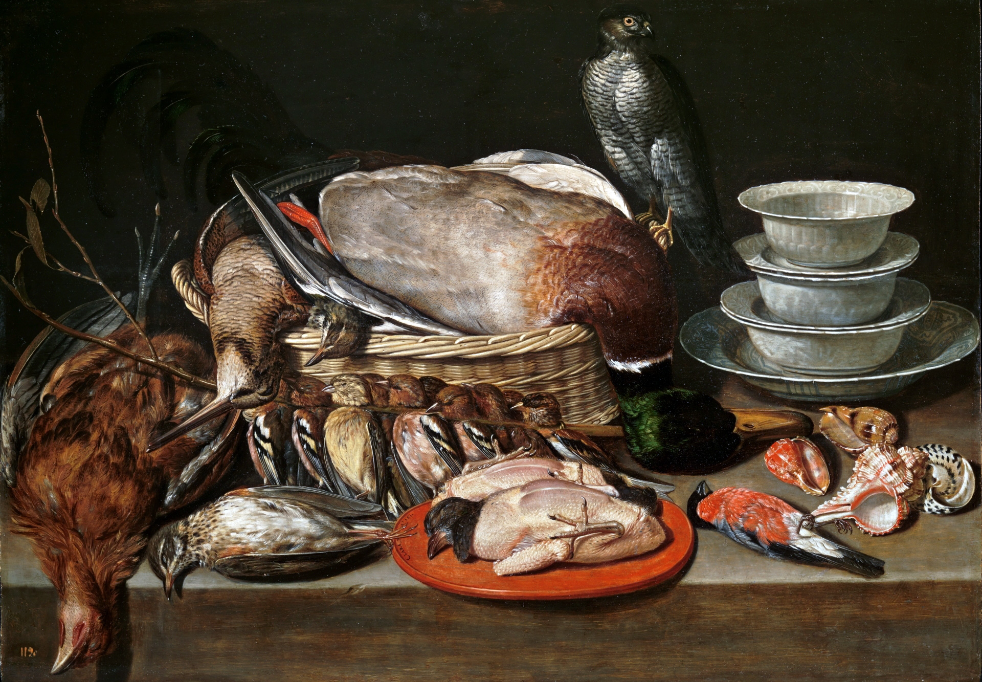 Still Life with Sparrow Hawk, Fowl, Porcelain and Shells, 1611 — Clara Peeters