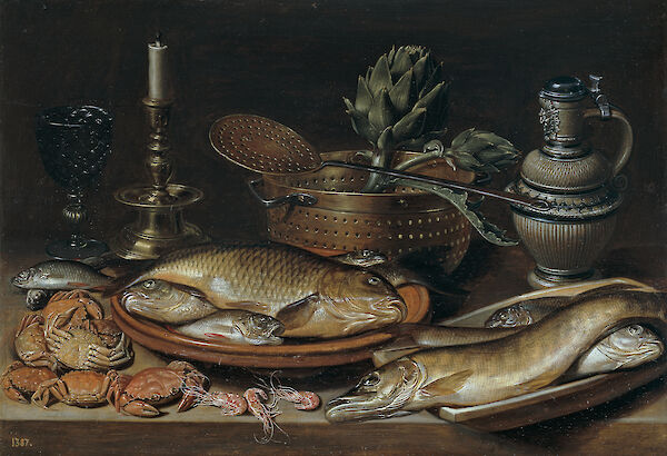 Still Life with Fish, Candle, Artichokes, Crabs and Shrimp