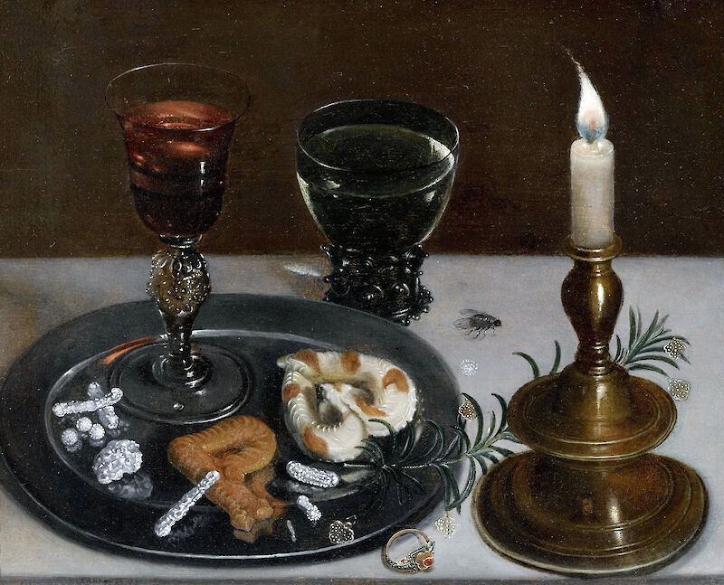 Still life with Venetian glass, Römer wine glass and a candle, 1607, Clara Peeters