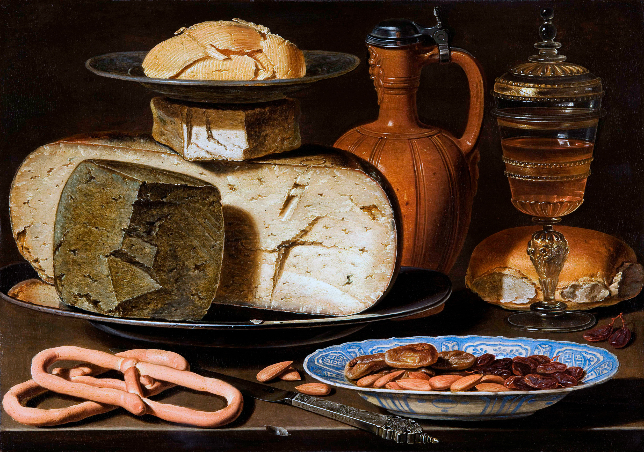 Still Life with Cheeses, Almonds and Pretzels, 1615 — Clara Peeters