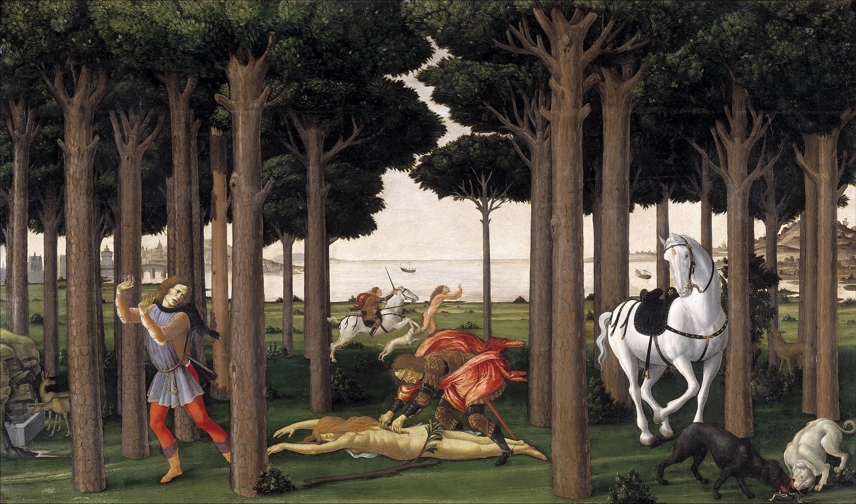 The Story of Nastagio degli Onesti, II, 1483 — Sandro Botticelli,