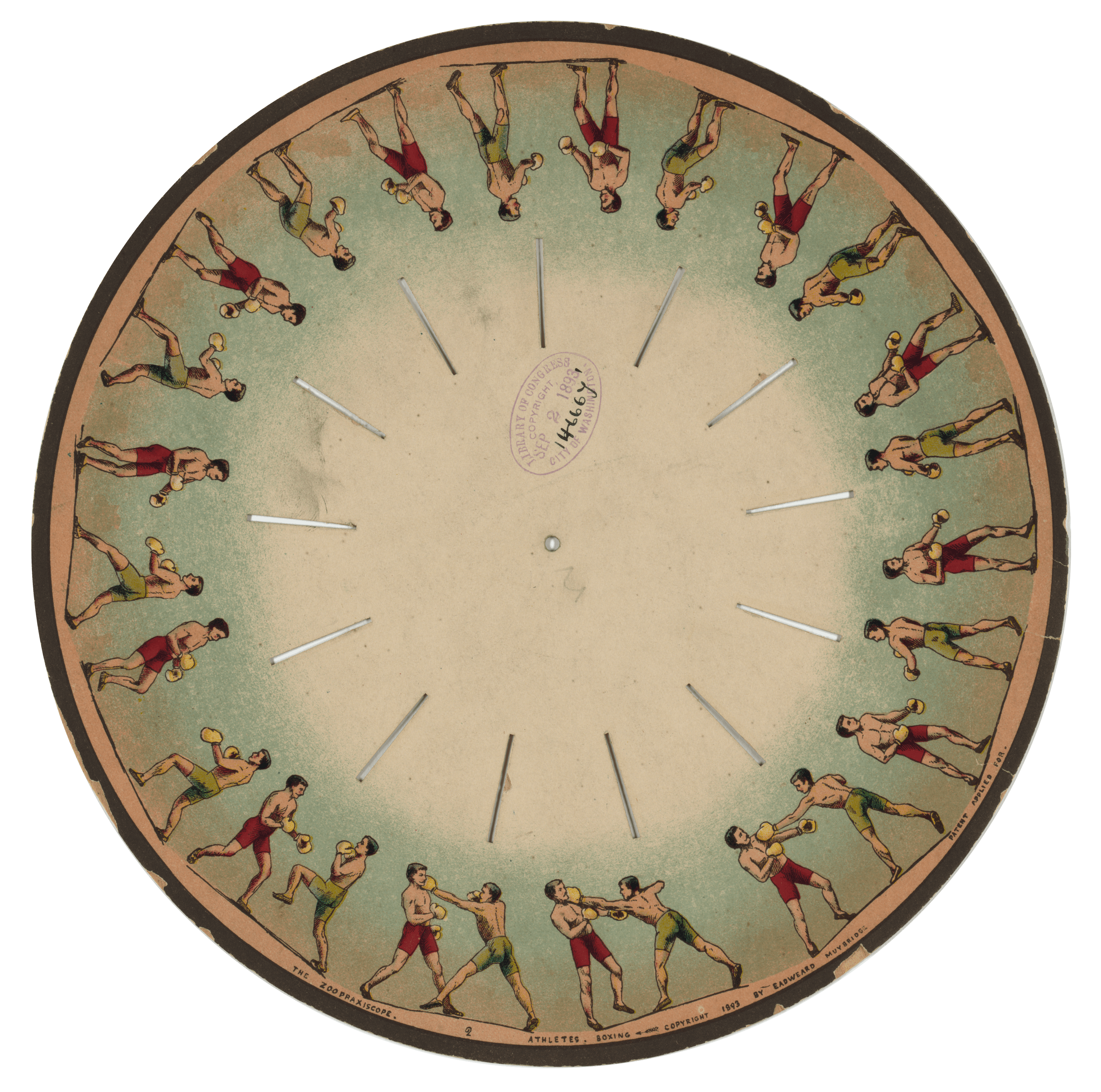 Zoopraxiscope, Athletes Boxing, 1893 — Eadweard Muybridge