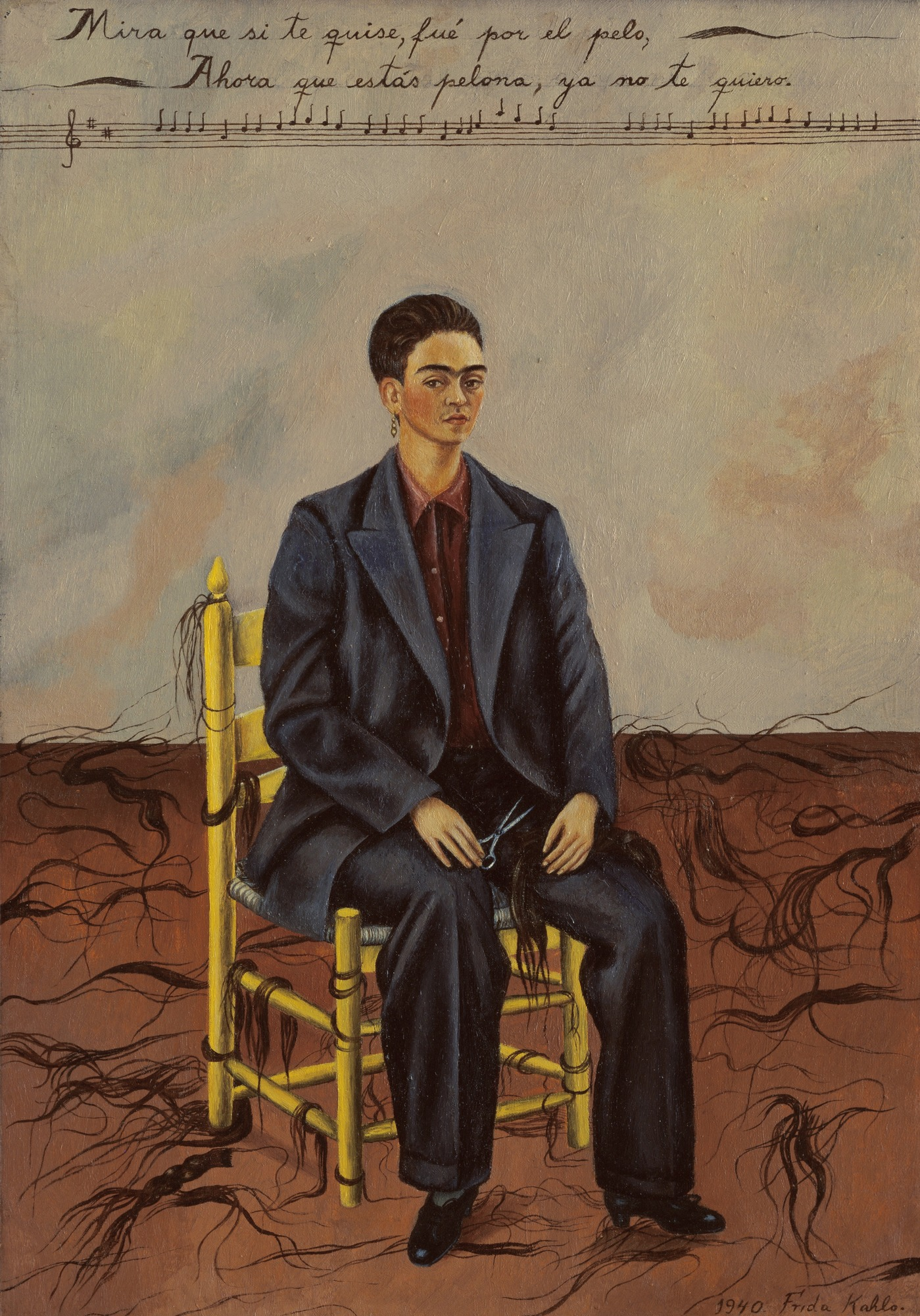 Self-Portrait with Cropped Hair, 1940 — Frida Kahlo,