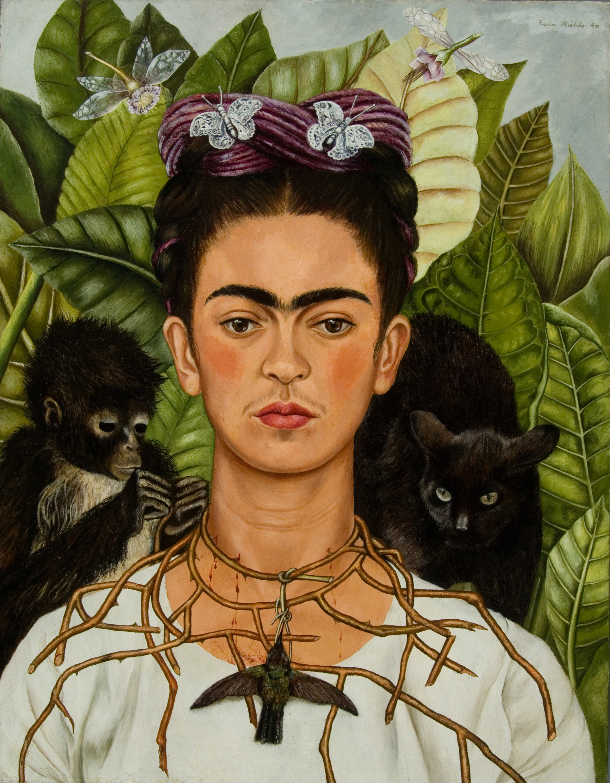 Self-Portrait with Thorn Necklace and Hummingbird, 1940 — Frida Kahlo
