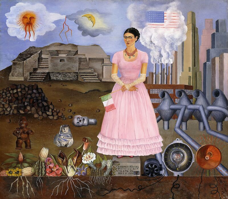 Self-Portrait on the Border Line Between Mexico and the United States, 1932, Frida Kahlo