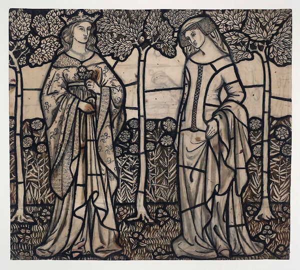 Guinevere and Iseult: Cartoon for Stained Glass