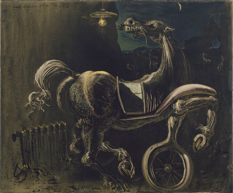 Debris of an Automobile Giving Birth to a Blind Horse Biting a Telephone