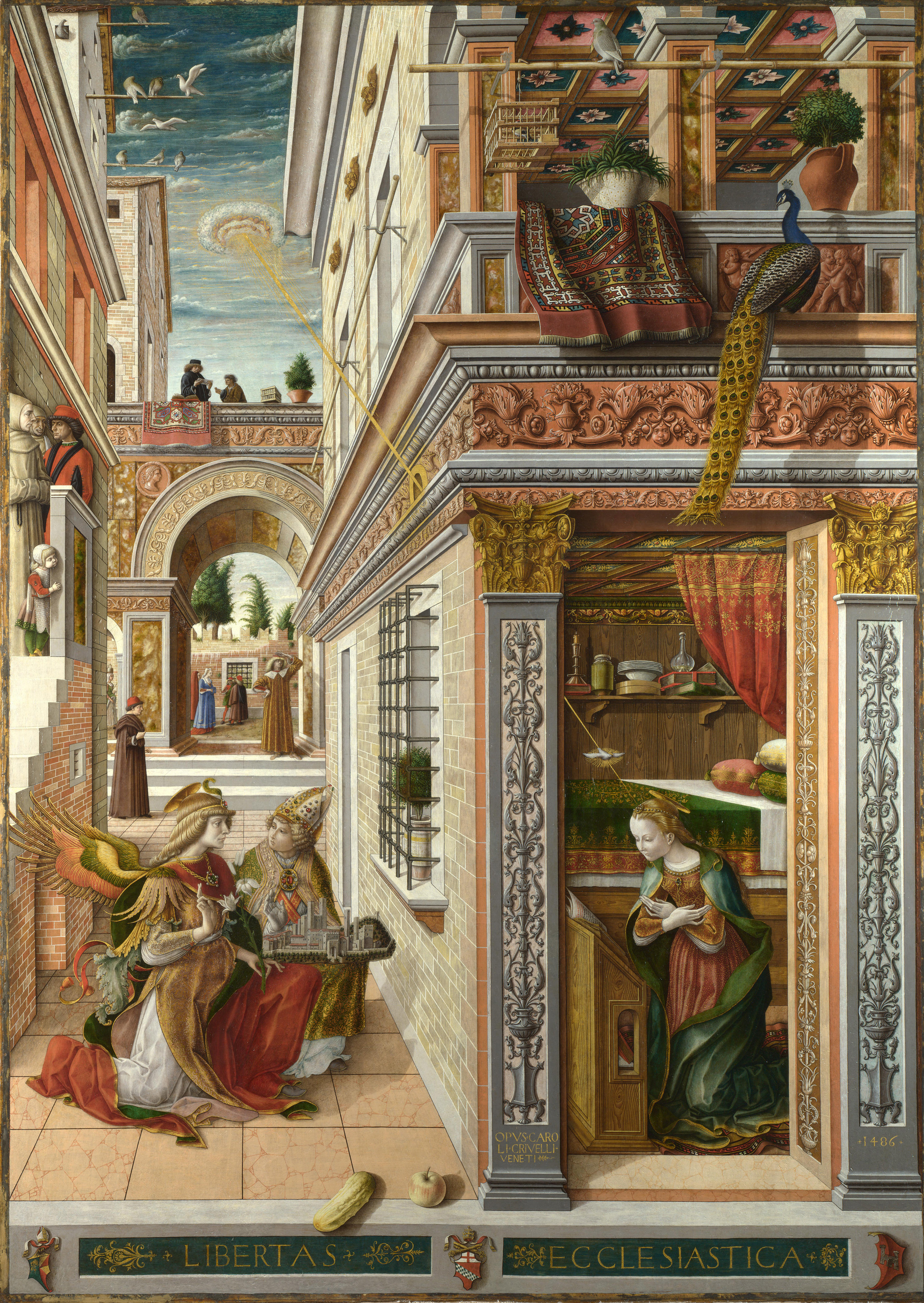 The Annunciation, with St. Emidius, 1486 — Carlo Crivelli