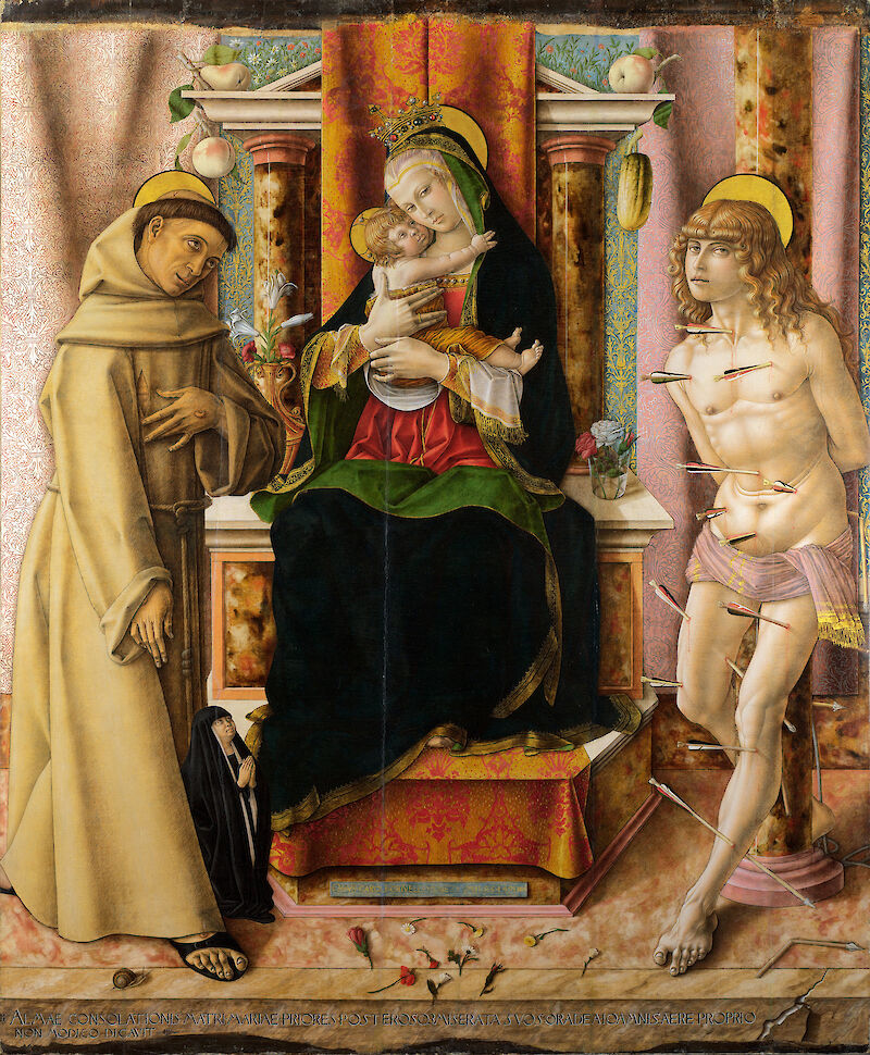 The Virgin and Child with Saints Francis and Sebastian, 1491, Carlo Crivelli