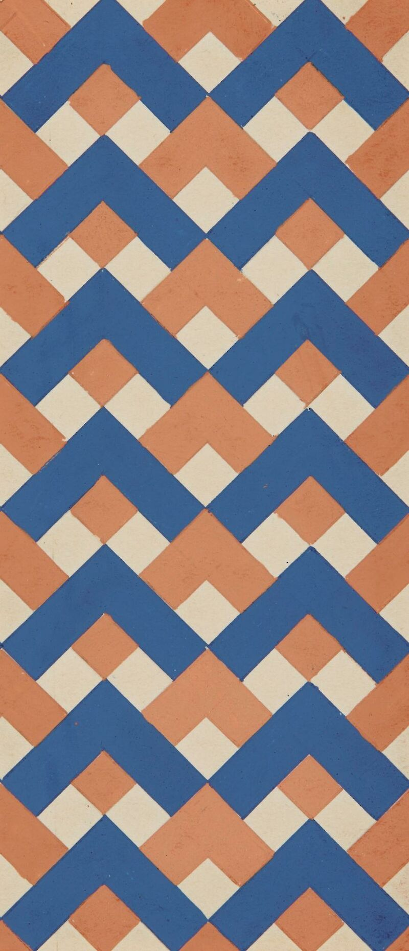Textile Design in Blue and Orange
