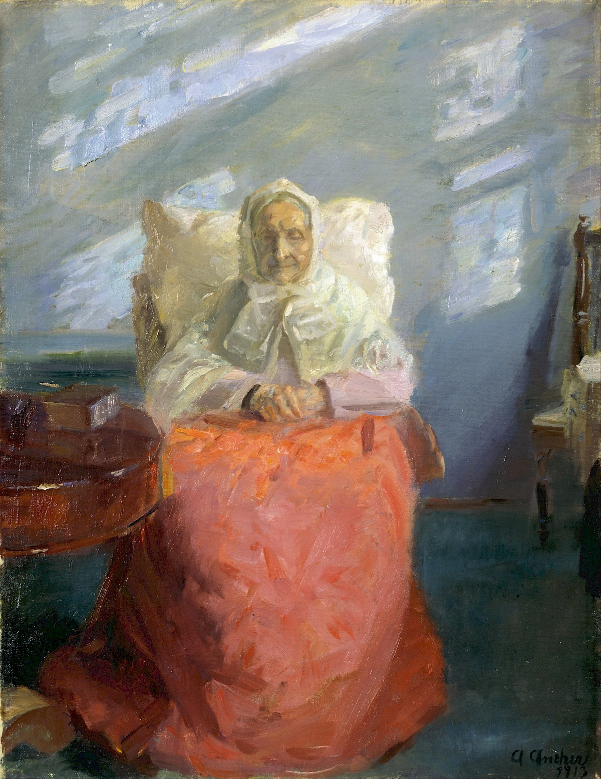 Mrs Ane Br 248 Ndum In The Blue Room By Anna Ancher