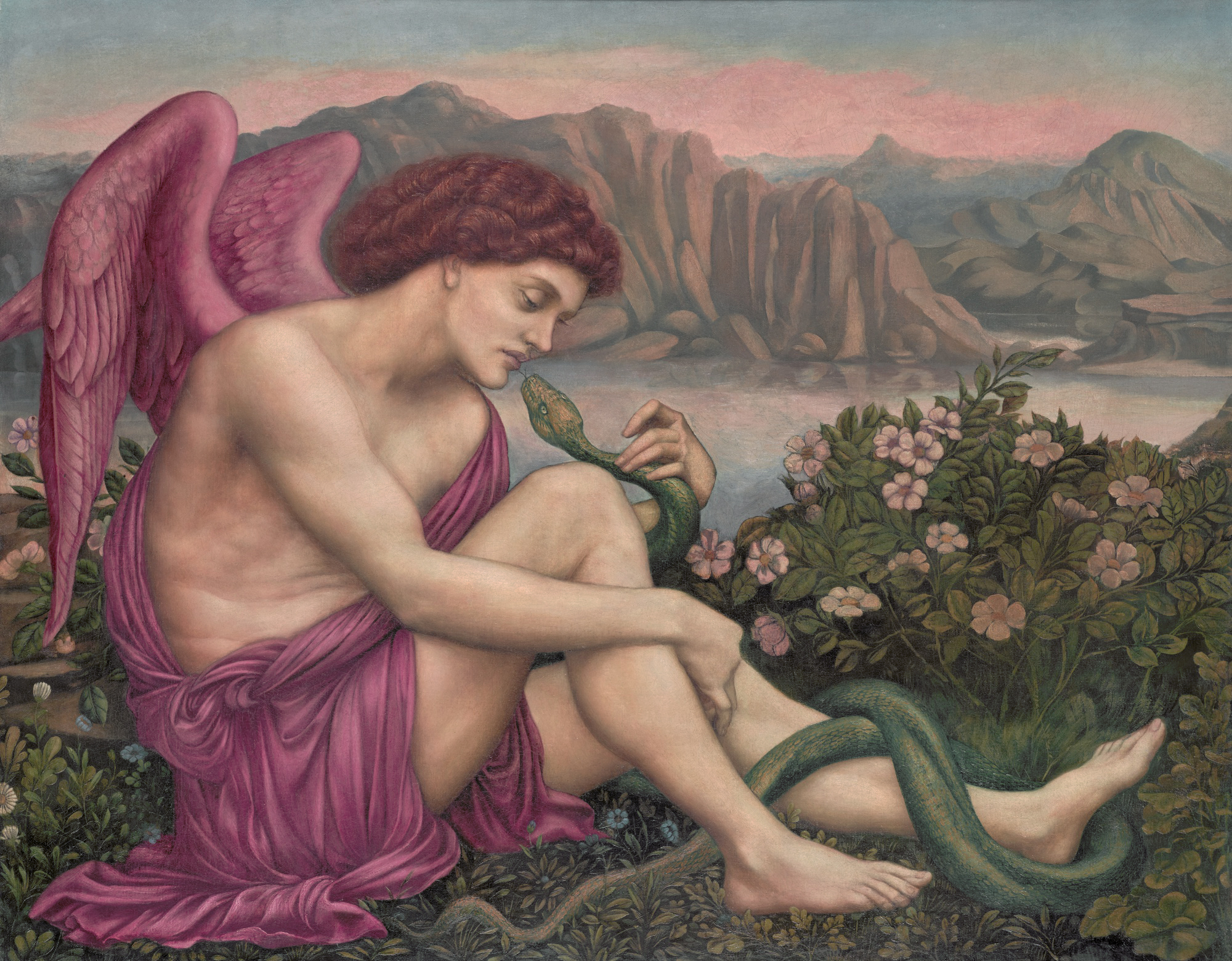 The angel with the serpent, 1875 — Evelyn De Morgan