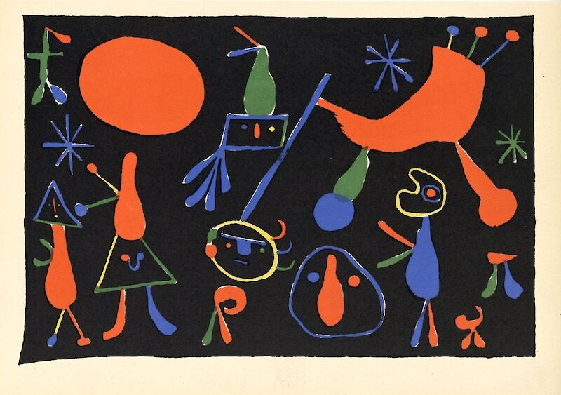 Personnages on Black Ground, 1948, Joan Miró