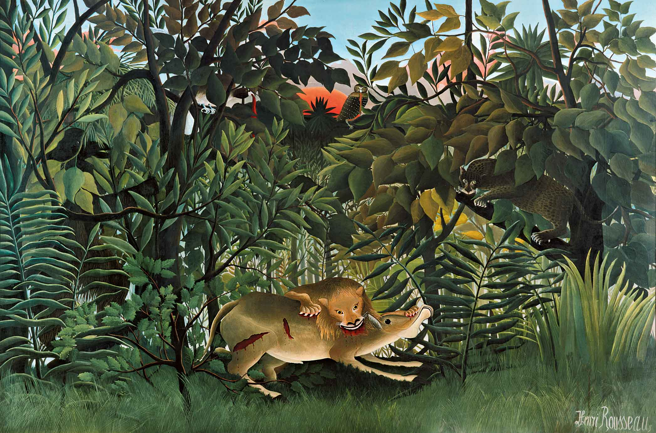 The Hungry Lion throws itself on the Antelope, 1905 — Henri Rousseau