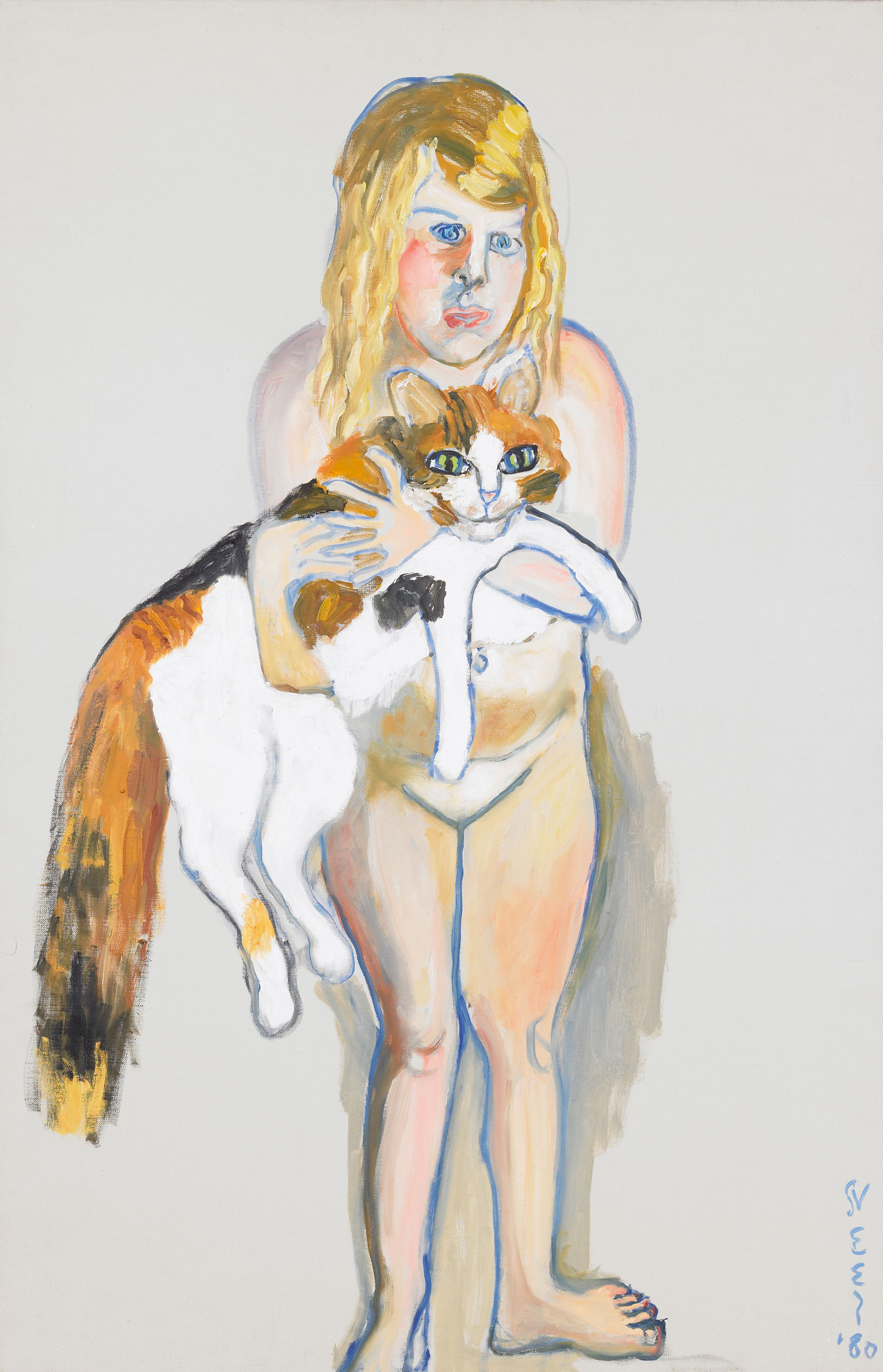 Victoria and The Cat, 1981 — Alice Neel