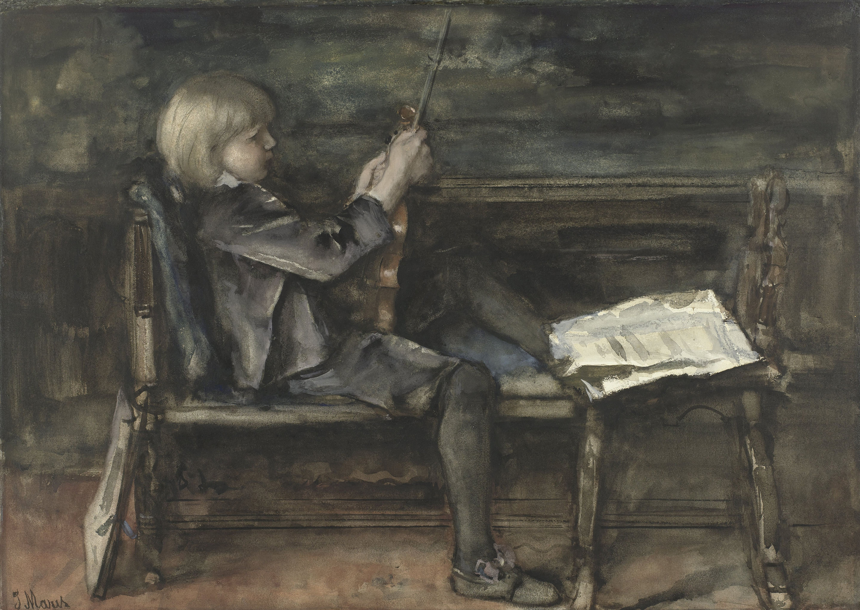 Willem Matthijs Maris with Violin, 1899 — Matthijs Maris