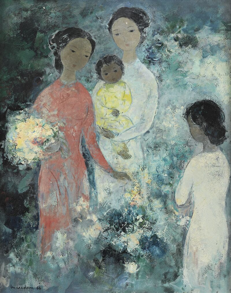 Three Young Women with a Baby