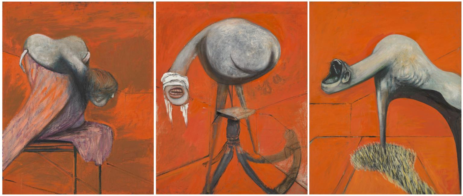 Three Studies for Figures at the Base of a Crucifixion, 1944 — Francis Bacon