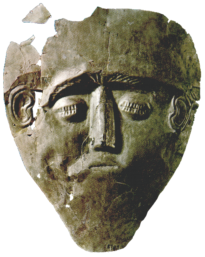 Electrum Grave Mask from Grave Circle B, 1550 BCE, Aegean Civilizations