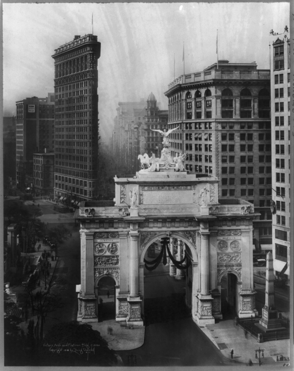 Victory Arch and Flatiron Bldg, 1919 — Early Photography