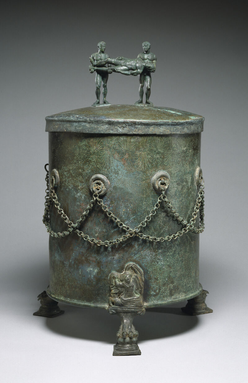 Cista Depicting a Dionysian Revel and Perseus with Medusa's Head, 400 BCE, The Etruscans